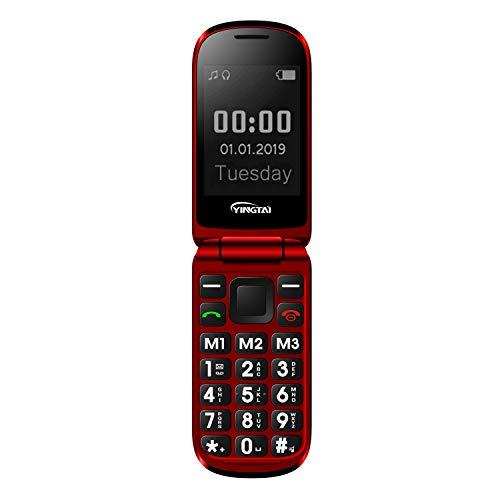 Seniorenhandy Klapp-Handy mit Großen Tasten Klapphandy und Notruffunktion mit SOS-Taste by YINGTAI T09 2G (Rot)