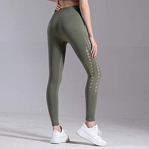 Pantalones De Fitness Para Mujer, Pantalones Elásticos Ajustados Para Correr, Pantalones De Yoga Huecos, De Cintura Alta, Abdomen Y Levantamiento De Cadera,1L