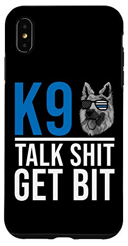 iPhone XS Max K9 Thin Blue Line - German Shepherd Police Dog US Flag Case