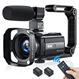 4K Video Camera Camcorder, YouTube Camera 48MP 60FPS Wi-Fi Digital Camera Recorder Night Shot 16X Digital Zoom IPS Touch Screen Vlogging Camera with Microphone, Stabilizer, 2.4G Remote, Lens Hood