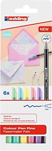 Edding1200 rotulador de color de trazo fino - juego de 6 colores pastel - punta redonda 1 mm - rotulador con punta de fieltro para dibujar y escribir - para colegio o mandala