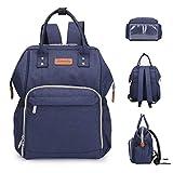 Wemk Windelrucksack Wickeltasche für Babys, Hohe Kapazität Baby-Rucksack mit Thermotasche für Babyflaschen und Kinderwagengurten, Verbessertes Wasserdichtes Material, Blau