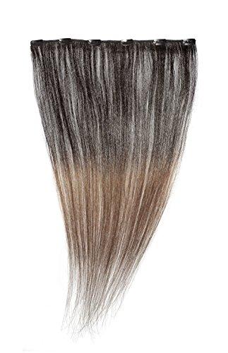 American Dream - A1/QFC12/18/1B-33 - 100 % Cheveux Naturels - Barrette Unique Extensions à Clipper - Couleur 1B-33 - Noir Nature-Cuivre Riche - 46 cm