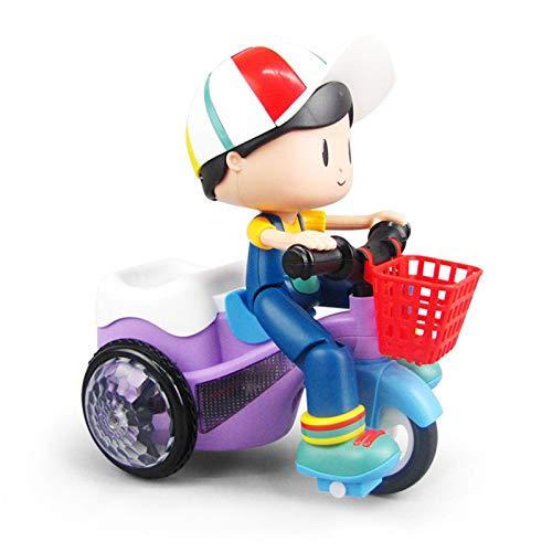 Triciclo eléctrico de juguete para niños, con giro de 360 grados, luz dinámica, música, dibujos animados, juguete para niñas