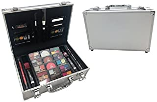 BR Carry All Trunk Train Case with Makeup and Reusable Case Makeup Gift Set (Coral)