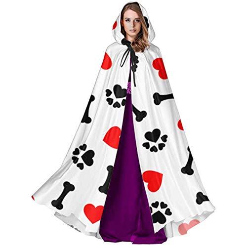 Zome Lag Deluxe omhanging, voor volwassenen, vampierkostuum, hekmagische omhanging, kap met capuchon, paw print en rode hartjes meisjes jurk cape cloak heren cape cloak