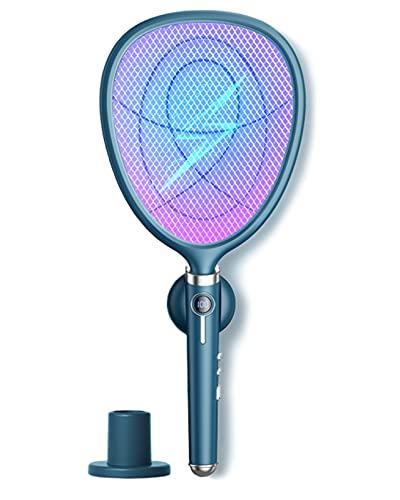 hujio Bug Zapper, Aoligei 4-in-1 oplaadbare elektrische vliegenmepper met muggenmoordenaar, USB-oplaadbaar, voor thuis en buiten, muggenbug zapper voor reizen, kamperen, tuinmuurbevestiging + basis