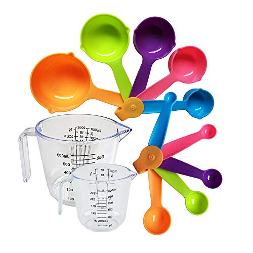 12 Piece Plastic Measuring Cups and Spoons set, Stackable Kitchen Measurement Tools, Dry, Wet and Liquid Use, Baking and Cooking Support