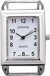 Geneva Solid bar Silver Rectangular Watch Case Simple Design (Silver)