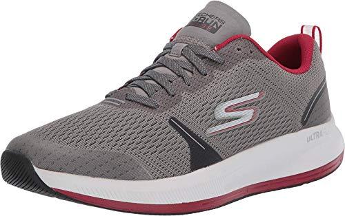 Skechers mens Go Run Pulse - Performance Running & Walking Shoe Sneaker, Grey/Red, 11 US