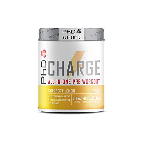 PHD CHARGE PRE-WORKOUT POWDER Polvere Energetica per Potenziare Energia e Muscoli, Rallenta l'azione dell'Acido Lattico, Vegana, Contiene Caffeina, 300G - Gusto Sorbetto al Limone
