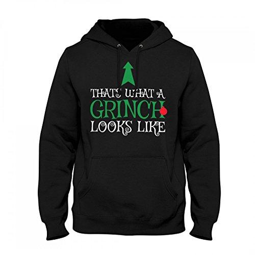 Fashionalarm Herren Kapuzen Pullover - Thats What A Grinch Looks Like | Fun Hoodie Spruch Geschenk Idee Weihnachten Heiligabend Weihnachtsmuffel, Farbe:schwarz;Größe:M