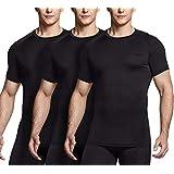 (テスラ)TESLA メンズ 半袖 3枚セット コンプレッションシャツ スポーツウェア [UVカット・吸汗速乾] コンプレッションウェア ランニングウェア スポーツ シャツ MUB20-BLK_L