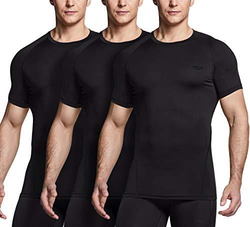 TSLA Men's Cool Dry Short Sleeve Compression Shirts, Athletic Workout Shirt, Active Sports Base Layer T-Shirts, Core 3pack(mub20) - a Black/Black/Black, Medium