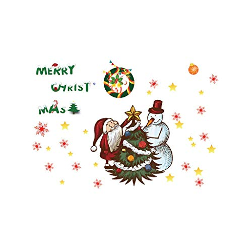 Deloito Frohe Weihnachten Wandaufkleber Weihnachtsmann Hintergrund Wandtattoo DIY Fensterdeko Wanddeko Entfernbare Aufkleber (A2,90 * 60cm)