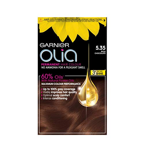 Garnier Olia Brown Hair Dye Permanent, Up to 100% Grey Hair Coverage, No Ammonia for a Pleasant Scent, 60% Oils - 5.35 Rich Chocolate Brown