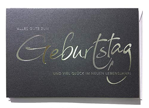 Geburtstagskarte für Herren hochwertig - Schrift Silber auf Anthrazit 12 x 17cm mit Kuvert