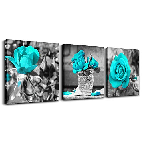 wall art for bedroom Simple Life Black and white rose flowers Blue Canvas Wall Art Decor 16' x 16' 3 Pieces Framed Canvas Prints Watercolor Giclee with Black Border Ready to Hang for Home Decoration