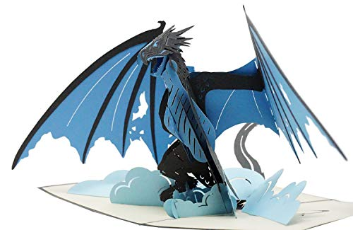 Ice Dragon - 3D Pop Up Greeting Card For All Occasions - Birthday, Love, Christmas, Goodluck, Congrats, Get Well - Blank Inside for Personalized - Amazing, Fun, Happy Gift - Thick Envelope, Fold Flat
