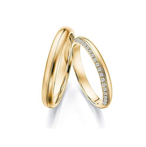 Epinki 18K Gold Smooth Round Inlaid Diamond 0.1ct Ring Eternity Engagement Wedding Band Ring Women Size L 1/2 & Men Size Q 1/2