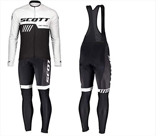 d.Stil Tuta Abbigliamento Ciclismo da Uomo Inverno Termico Vello Giacca + Pantaloni Ciclismo Lunghi per MTB Bici Professionale (Bianco, M)