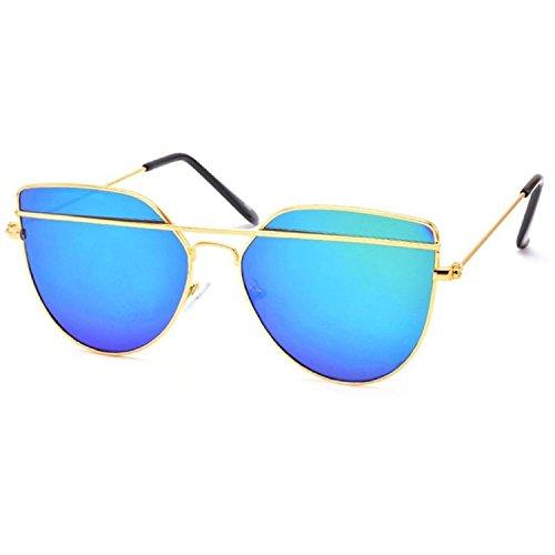 Silver Kartz Blue Mercury Mirrored Exclusive Double-Bar Sunglasses for Men & Women (wy145)