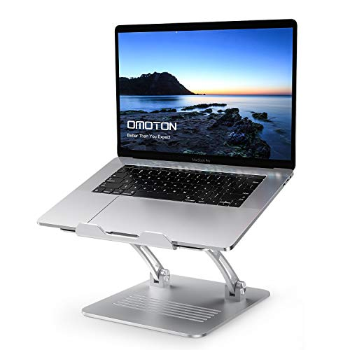 OMOTON Laptop Stand, Adjustable Angle Height Notebook Stand, Full Aluminum Ergonomic Laptop Holder Riser with Cooling Function, Office PC Riser, Fits for All Notebooks/ MacBooks(10-17.3in), Silver
