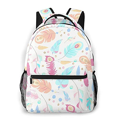 QQIAEJIA Mochila Boho Feathers Backpack Travel School Laptop Backpack For Boys Girls College Students Suitable Teenagers, Adults