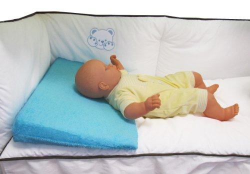 Plan incliné en tissu éponge Bleu perroquet déhoussable pour lit bébé