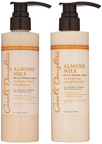 Carol's Daughter Almond Milk Daily Damage Repair Sulfate Free Shampoo and Conditioner Set for Damaged Hair, Shampoo and Restoring Hair Conditioner with Shea and Aloe