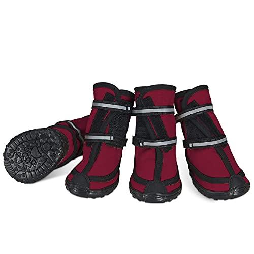 Dociote Hundeschuhe pfotenschutz mit Anti-Rutsch Sohle, reflektierendem Riemen, Klettverschluss wasserdicht Schneeschuhe für mittelgroße große Hunde 4 Stück Rot XXL