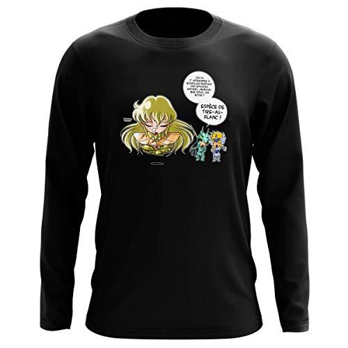 T-shirt manches longues Noir parodie Saint Seiya - Shiryu du Dragon, Hyoga du Cygne et Shaka - La technique interdite: le Roupillon du Lotus !! (T-shirt de qualité premium de taille L - imprimé en F