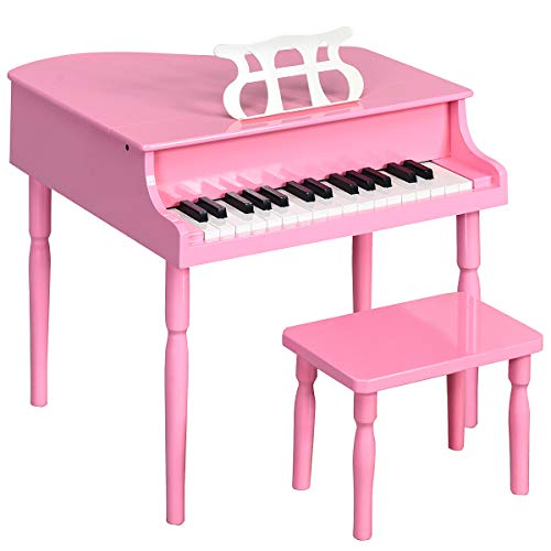 Costzon Classical Kids Piano, 30 Keys Wood Toy Grand Piano with Music Stand and Bench, Mini Musical Toy for Child, Ideal for Children's Room, Toy Room, Best Gifts (Straight Leg, Pink)