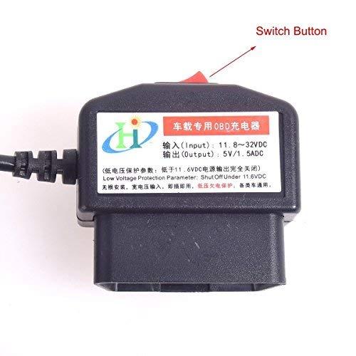 CoCar OBD2 DVR Dashcam Ladekabel Mini USB Adapter mit Schalter, 16 Pin OBDII Auto/Fahrzeug direkt zur Batterie/ Festverkabeltes Kabel Autoladegerät für PDA Handy GPS Tablette – 3M/11.5FT Draht – DC12-24V zu 5V - 4