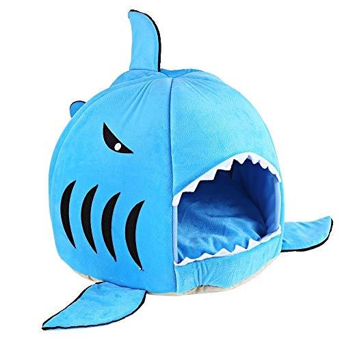 SMX kat en kleine hond bed voor beter slapen - waterdicht, vuilafstotend bodem, wasmachine en droger, gezellige haai ronde huis bed zachte kussen mat vier seizoenen, M, Blauw