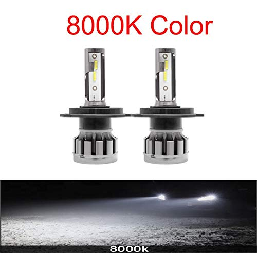2pcs luces de coches LED H7 12000LM H4 Lámpara LED para bombillas de faros del coche H11 HB2 H8 H9 9005 9006 HB3 HB4 Turbo H1 Bulbos LED 12V 24V (Emitting Color : 8000K, Socket Type : 9006/HB4)