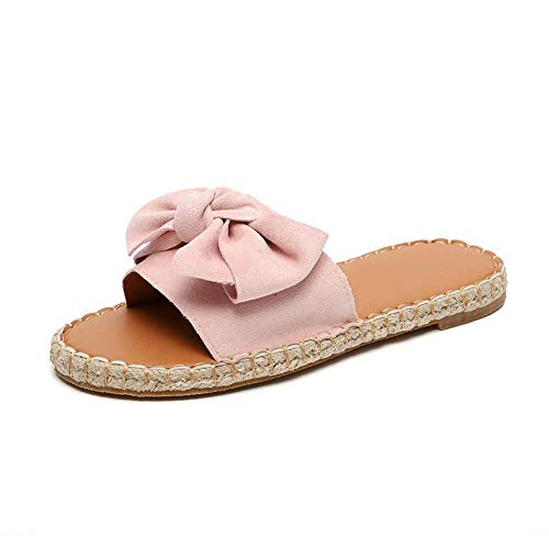 Schlappen Damen Espadrille Sandalen Flache Sommer Schleife Wildleder Sandaletten Peep Toe Plateau Strand Hausschuhe Pantoletten Bequeme Rosa 39