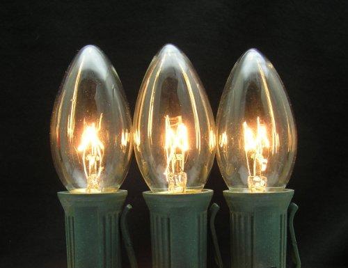 25 Pack 7 Watt C9 Clear Incandescent Light Bulb, Intermediate Base