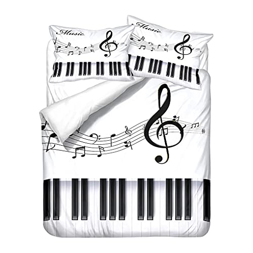 Juego de Cama Retro Elegante Piano Música Arte Funda nórdica Funda de Almohada Vino Rojo Blanco...