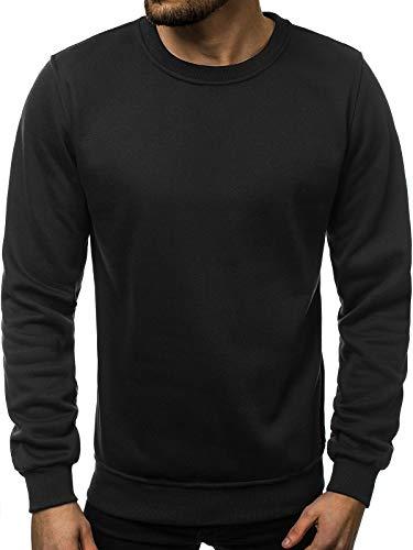 OZONEE Herren Sweatshirt Pullover Langarm Farbvarianten Langarmshirt Pulli ohne Kapuze Baumwolle Baumwollemischung Classic Basic Rundhals-Ausschnitt Sport J. Style 2001-10 XL SCHWARZ