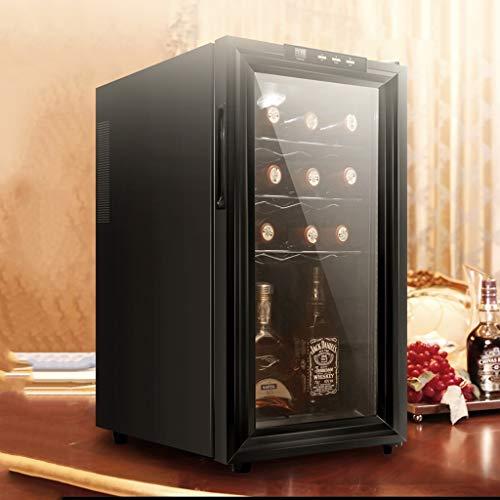 Nuitab 18 flessen wijnkoelkast wijnkoeler Cooler 12-18 °C temperatuur Zone 6 rekken UV-bestendig glazen deur drinken kelder koelkast 35,5 × 50,8 × 64,8 cm