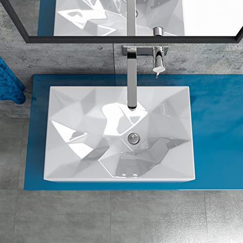 KERABAD Design Keramik Waschbecken Waschtisch Waschschale Aufsatzwaschbecken eckig BxTxH: 56x37x12cm KBW526
