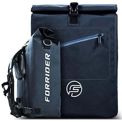 Forrider 3in1 Fahrradtasche für Gepäckträger mit Rucksack Wasserdicht 27L I Gepäckträgertasche Reflektierend I Sattel Tasche fürs Fahrrad