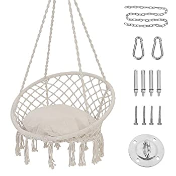 Patio Watcher Hammock Chair Hanging Macrame Swing with Cushion and Hardware Kits Max 330 Lbs Handmade Knitted Mesh Rope Swing Chair for Indoor Outdoor Bedroom Patio Yard Deck Garden Beige