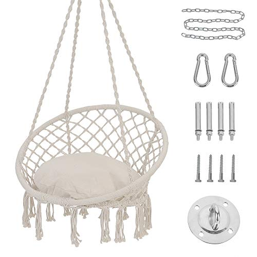 Patio Watcher Hammock Chair Hanging Macrame Swing with Cushion and Hardware Kits, Max 330 Lbs, Handmade Knitted Mesh Rope Swing Chair for Indoor, Outdoor, Bedroom, Patio, Yard, Deck, Garden, Beige