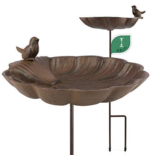WILDLIFE FRIEND | Vogeltränke stehend, Vogeltränke Garten groß auf Stab - Höhe 63cm I Vogelbad frostsicher aus Gusseisen, Vogelfutterspender, Wasserschale