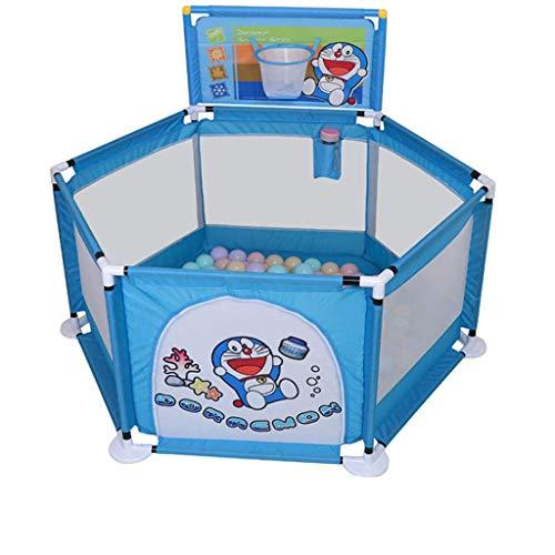 FMEZY Baby-Laufgitter- und Bällebad-Set, Sicherheitsspielbereich Tor, weißer Gitterzaun, zusammengebauter Hausspielplatz (Farbe: C)