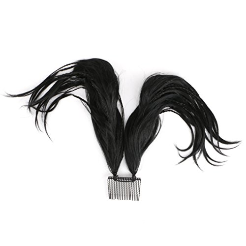 Queentas Bendable Wires Foxtail Comb Updo for Women Messy Bun Ponytail with Clip-on Claw Attachment (Natural Black)