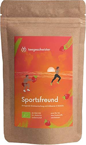 teegeschwister® | BIO Sportsfreund | natürliches Koffein aus Grüner-Tee Sencha Matcha & Oolong kombiniert mit Ingwer & Erdbeerstücken | ohne zugesetzte Aromen | 85g