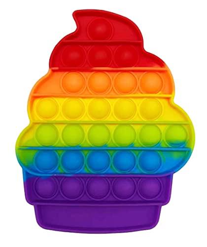 CRAZYCHIC - Pop It Fidget Toys - Popit Push Bubble Juguetes Niños Barato - Juegos Antiestres Hijos Adultos - Burbujas Multicolor Arco Iris Regalo Niño Niña - Helado